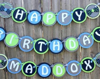 Little Man Happy Birthday Banner - Bow Tie Banner