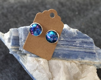 Galaxy earrings, hand-painted alcohol ink unique