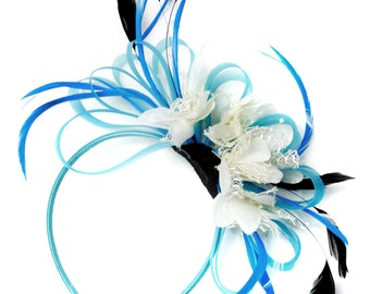 Aqua and Cream Black Net Hoop & Feathers Fascinator On Headband