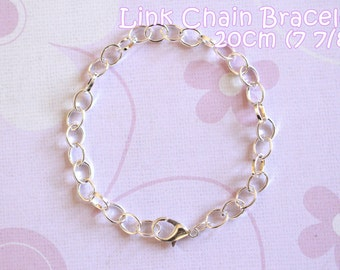 6 Silver Plated Lobster Clasp Link Chain Bracelets  - 7 7/8 inches