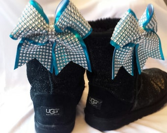 Mini Sparkly Ugg Boot Cheer Bow Clips! Bow Set Clip on Shoes/Boots! Solid Bling over Teal, Can choose other colors! Competition Spirit gifts