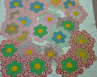 RESERVED for Retro-A-22 Vintage Quilt Blocks Grandmother's Flower Garden Plus Lots of Hexagons 1930's Prints