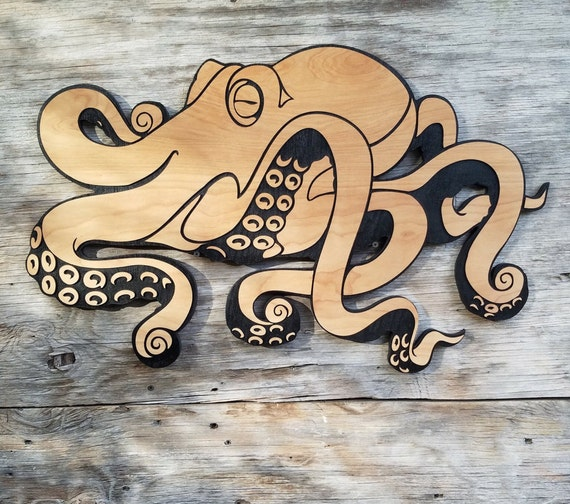 Wooden Octopus Wall Hanging