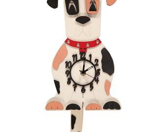 Patch Dog Wooden Pendulum Clock