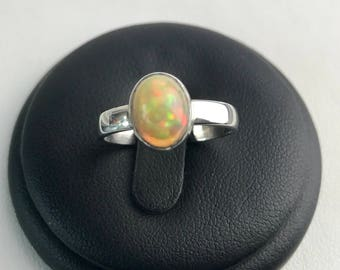 Ethiopian Opal Cabochon Sterling Silver Ladies Ring. Size US-7.25, UK-O.