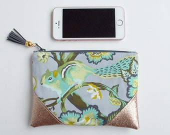 Squirrel Gold Glitter Mini Zip Pouch, Coin Pouch, Coin Purse, Card Holder, Gifts for Her, Gifts for Teens,  Grey, Wristlet