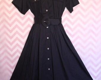 Vtg Ms. Claus Navy Blue Button-Up Shirtwaist Day Dress Size 10 Cotton USA