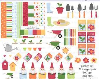 Gardening Garden Digital Clipart and Paper Pack Set - Instant download PNG files