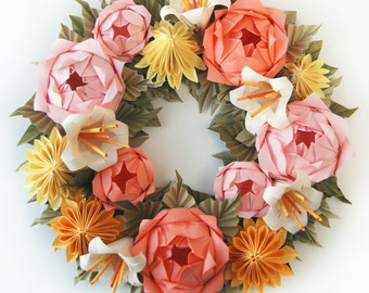 Cream rose and lavender clematis origami wreath valentines day wreath pink rose and yellow dahlia origami paper wreath mothers day wreath spring wreath easter wreath mightylinksfo