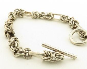 """Vintage Sterling Silver *"""" Bracelet w/ Toggle"""