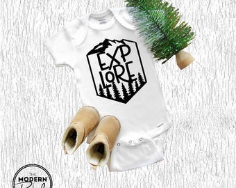 Baby Onesie® Explore Baby Shower Gift Camping Mountains Travel Pine Trees Toddler Baby Boy Baby Girl Baby Clothing Toddler Clothing