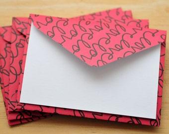 Red Love Mini Cards // Set of 4 // Gift Card Envelope // Love notes // Enclosure Cards // Valentine Card // Favor Card // Scrapbooking