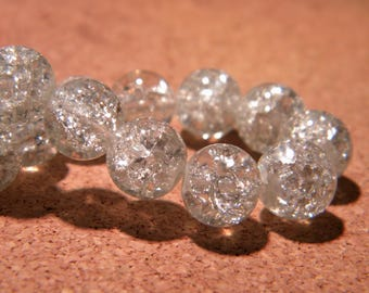 20 10 mm - clear - PF66 Crackle glass beads