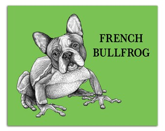 "French Bullfrog 8x10"" High Quality Color Print, French Bulldog + Frog Hybrid Animal, Wall Art, Office Décor, Whatif Creations, Portland, OR"