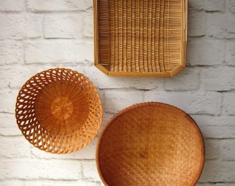 Set of 3 Vintage Baskets - Gallery Wall - Basket Collection Extra Large Winnowing Basket