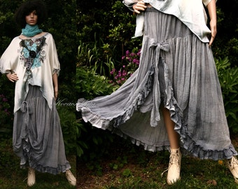 Bohemian Romantic Hand Dyed Gathered Linen Gauze Skirt Plus Size Lagenlook Skirt - Norina- Made To Order