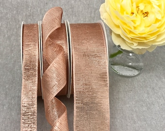 """Rose Gold Wired Ribbon - Metallic Mesh Lame - 1 1/2""""  1""""  5/8"""" in 1m 3m 5m - Floral Bouquets - Wedding - Invitations - Rose Gold Christmas"""