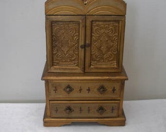 Vintage Gold Florentine Armoire Jewelry Box