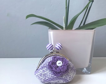 Kisslock Coin purse, Crochet Coin Purse, Blumargot, Metal Frame Purse, Kiss Lock Purse, Kisslock Wallet Pouch, Coin Purse, Mother day gift