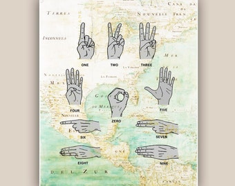 Scuba diving art, Scuba Communication Print, Deep Sea signs print, Nautical art, gift scuba diver, diving school, dive center decor 11x14