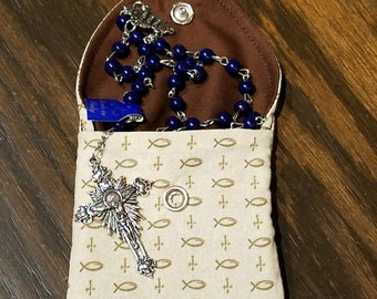 Rosary / Coin Fabric Purse with Metal Snap Closure - Crosses and Ichthus Fish on Beige Background with Chocolate Brown Interior