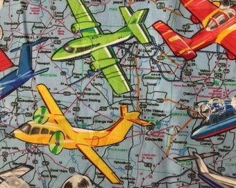 Vintage airplane cotton fabric by the yard