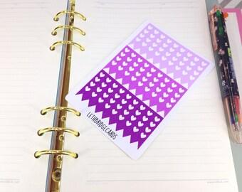 Purple heart checklist stickers; Filofaxing; Erin Condren; Cute Stickers; Kawaii Stickers; Colour Coding; Planner Sticker