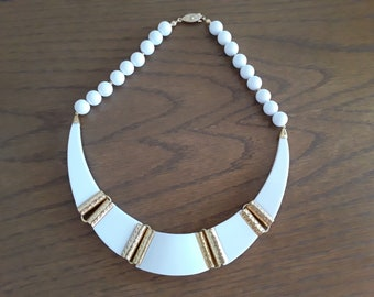 Vintage white plastic statement necklace, goldtone and white necklace, plastic and goldtone necklace, mod necklace, birthday gift necklace