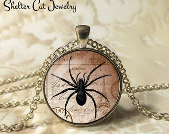 "Black Spider Necklace - 1-1/4"" Circle Pendant or Key Ring - Handmade Wearable Art Photo - Halloween Spider Bug Trick or Treat Gift"