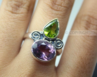 Amethyst, Peridot Ring, 925 Sterling Silver Ring, Gemstone Rings, Crystal Rings, Healing Rings