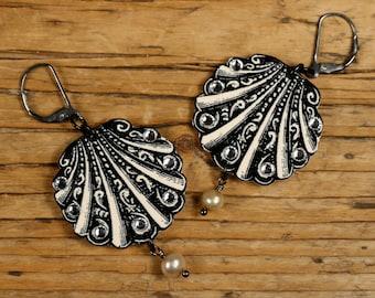 Seashell Earrings - Scalloped Shell - Seashell - Vintage Shell - Rhinestone Earrings - Shrink Plastic - Victorian Earrings - Pearl - Dangle