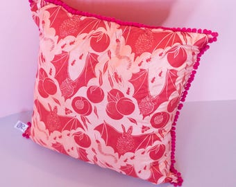 Handmade Screen Printed Cushion - Pink