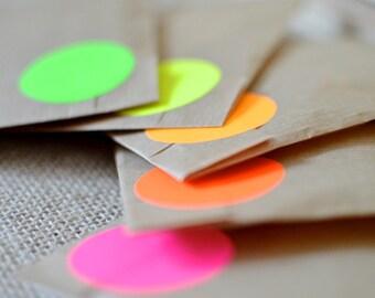 50 pcs, Neon multicolour Fluorescent, circle sticker, 40mm orange yellow pink red green