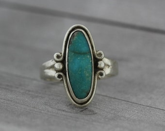 Long Oval Turquoise Ring - Sterling Silver Ring - Turquoise Jewelry
