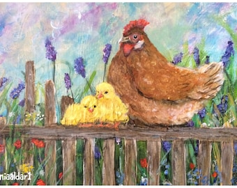 Hen and her chicks, a print from my original acrylic painting. Cottage style. Village.