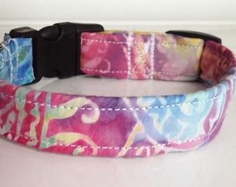 Colorful Girl Dog or Cat Collar - Purple, Pink, Yellow, Blue & Green Collar
