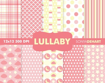 80% OFF SALE Digital Paper Baby Shower Lullaby Pink Background Patterns