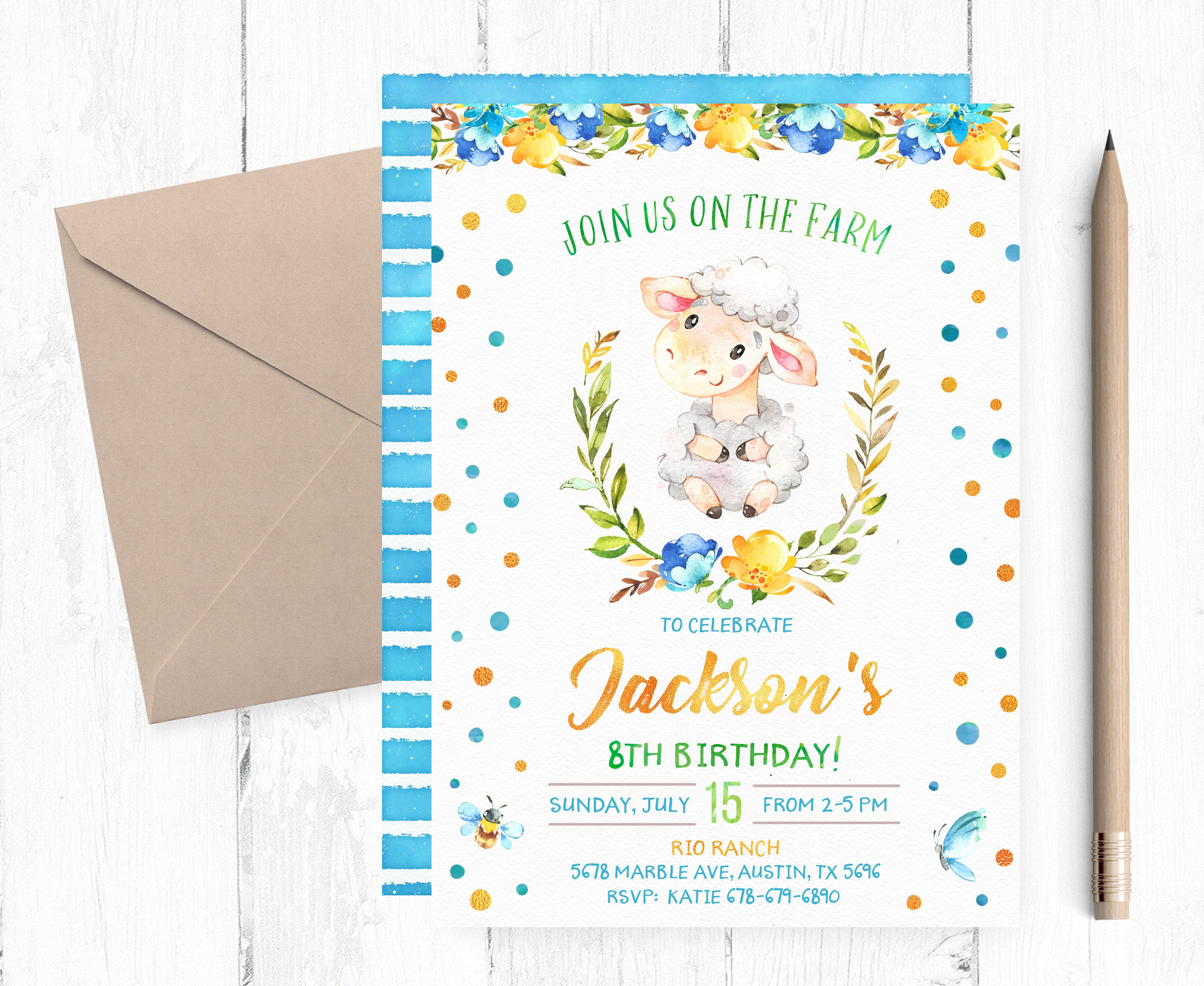 Farm Invitation Boy Farm Sheep Printable Birthday Invitation