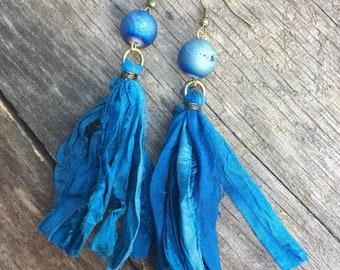 Blue Tassel Earrings, Sari Tassel Earrings, Boho Chic Tassel Earring, Silk Sari Tassel Earring