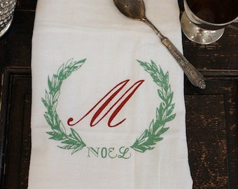 Christmas Towel, 1, Kitchen Towel, Flour Sack Towel ,Christmas Monogrammed Towel,Dish Towel,Vintage,Christmas Decoration,Wreath,Noel,Holiday