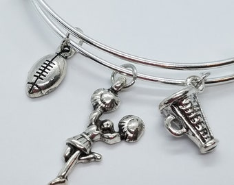 Cheer Bangle Bracelet, Megaphone and Cheerleader Charms, Football Charm Bangle, Gift For Mom, Sister, Aunt, Friends Even Your Favorite Coach