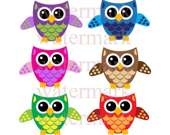 Colorful Owls Clip Art 6 image Collection