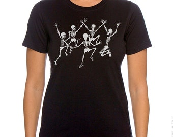 Skeletons T-Shirt. Dancing Skeletons Women's Plus Size Black T-shirt, Gift for Her, Artsy T-shirt