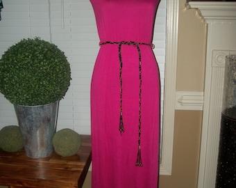 Summer 2015 Fuchsia Maxi Dress With Rope Belt Detail