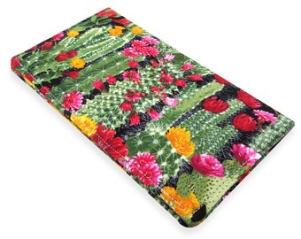 Cactus Succulent Checkbook Cover Wallet - Slim, Two Pocket Design Holds Cash And Checkbook