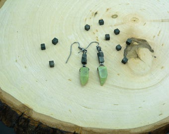 Reiki Healing Earrings, Healerite Earrings, Healerite and Pyrite Earrings, Cleansing Earrings, Serpentine Earrings, Crystal Energy Earrings