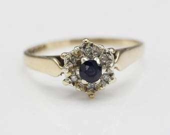 Vintage 9ct Gold Diamond and Sapphire Ladies Cluster Flower Ring    Size  UK N 1/2   US 7