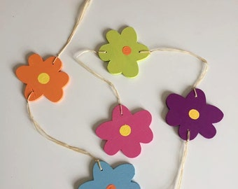 Handmade Wooden Flowers on a string