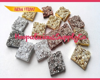 5pc Wholesale Acrylic 17mm DRUZY Squares. Avail. in Gold, Silver, Gun Metal, Copper. FAST Shipping w/Tracking for US Buyers.