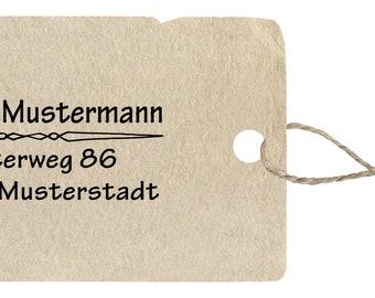 Address stamp 11, wood stamp with address, 20 x 45 mm